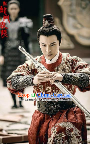 Traditional Chinese Ancient Ming Dynasty Imperial Guards Costumes and Handmade Headpiece Complete Set, New Dragon Gate Inn Knight Blades Robe Clothing for Men