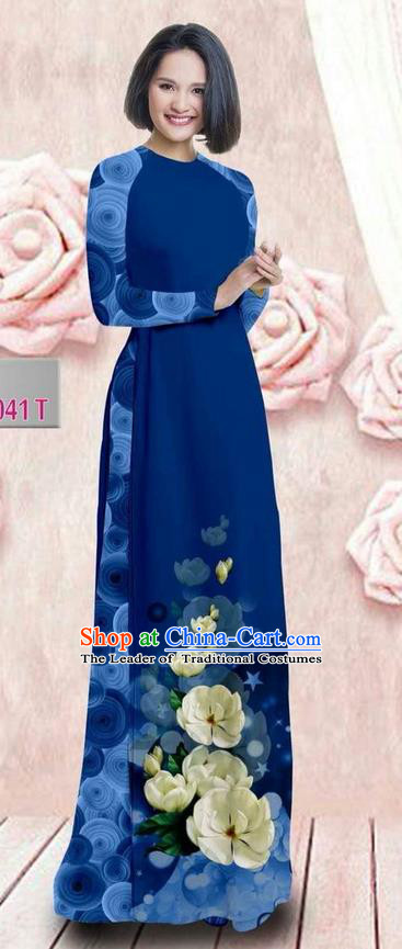 Traditional Top Grade Asian Vietnamese Ha Festival 3D Printing Bride Ao Dai Dress, Vietnam National Jing Nationality Princess Blue Cheongsam Costumes for Women