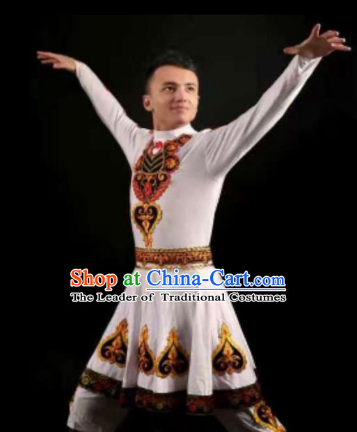 Traditional Chinese Kazak Nationality Dancing Costume, Folk Dance Ethnic Clothing, Chinese Hazak Minority Nationality Dance Cloth for Men