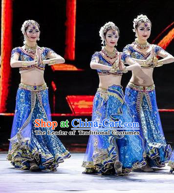 Top Grade Indian Classic Stage Performance Dance Costumes, India Belly Dance Dress for Women