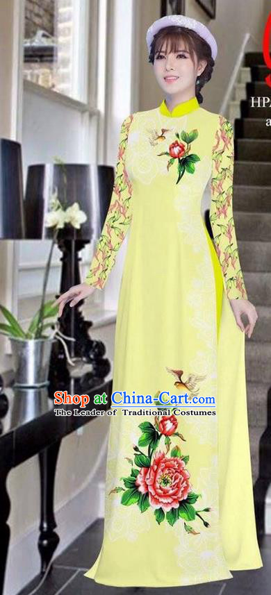 Traditional Top Grade Asian Vietnamese Ha Festival Bride Printing Peony Light Yellow Ao Dai Dress, Vietnam Women National Jing Nationality Princess Cheongsam Costumes
