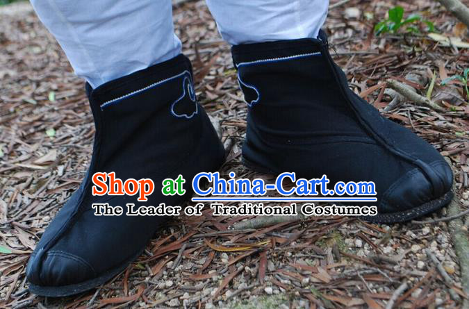Traditional Chinese Peking Opera Shoes, China Ancient Short Boots, Chinese Kung fu Black Cloth Boots for Men