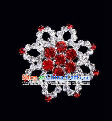 Chinese Ancient Peking Opera Jewelery Accessories, Traditional Chinese Beijing Opera Props Octagon Brooch Ornaments Hua Tan Red Rhinestone Breastpin