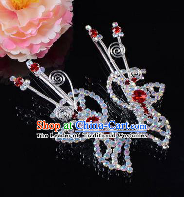 Chinese Ancient Peking Opera Hair Accessories Young Lady Headwear, Traditional Chinese Beijing Opera Head Ornaments Hua Tan Butterfly Red Crystal Hairpins