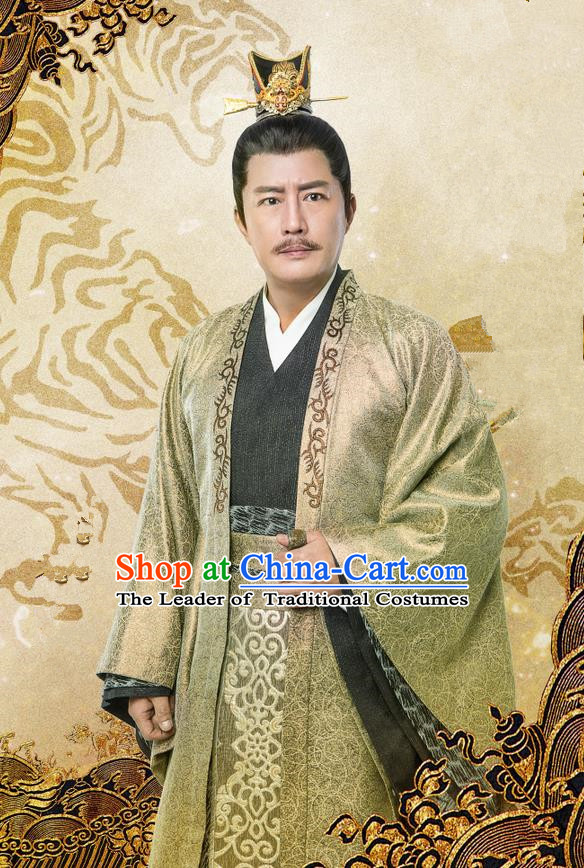 Traditional Chinese Ancient Officer Costume and Handmade Headpiece Complete Set, China Song Dynasty Minister Nobility Lord Clothing for Men