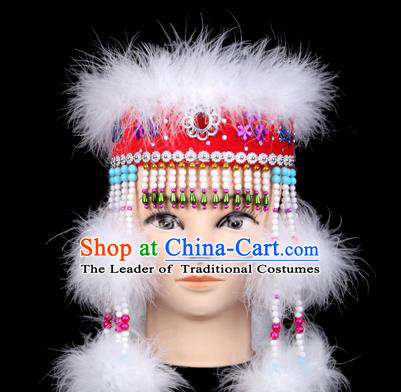 Traditional Chinese Mongol Nationality Headwear, Mongols Princess Hair Accessories, Chinese Mongolian Minority Folk Dance Hat for Women
