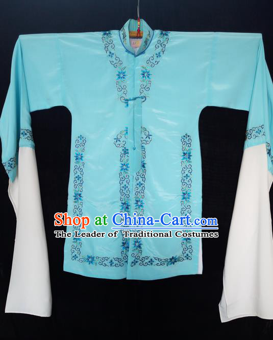 Traditional Chinese Peking Opera Costumes Blue Blouse, China Beijing Opera High-grade Embroidered Water-sleeve Wearing for Women