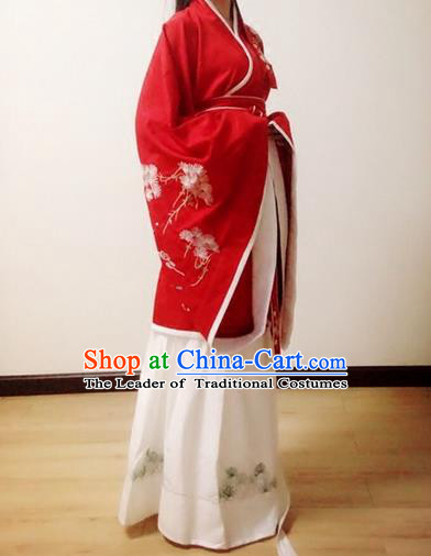 Traditional Chinese Ancient Han Dynasty Noble Lady Costumes, China Princess Hanfu Embroidered Wide-sleeve Blouse and Ru Skirt Complete Set for Women