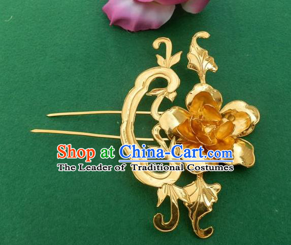 Traditional Handmade Chinese Ancient Classical Hair Accessories Peony Hair Sticks Hair Jewellery, Hair Fascinators Golden Hairpins for Women