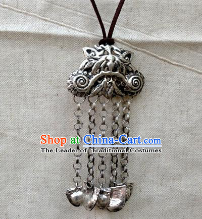 Traditional Handmade Chinese Ancient Classical Accessories Miao Nationality Long Tassel Pendant Pendent for Women