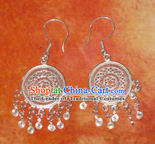 Traditional Handmade Chinese Miao Nationality Ancient Classical Earrings Accessories Hmong Tassel Eardrop for Women