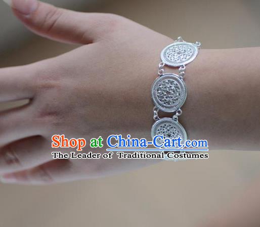 Traditional Handmade Chinese Miao Nationality Ancient Classical Bracelets Accessories Hmong Sliver Chain Bracelet for Women