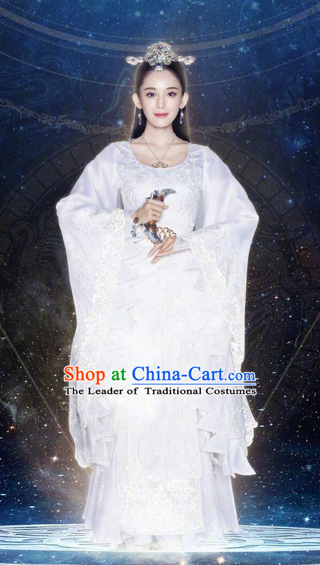 Chinese Ancient Tang Dynasty Peri Princess Costume and Headwear, Fighter of the Destiny Traditional Chinese Ancient Swordswoman Clothing Complete Set