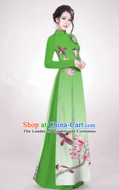 Top Grade Asian Vietnamese Traditional Dress, Vietnam Ao Dai Dress Green Cheongsam Clothing for Women