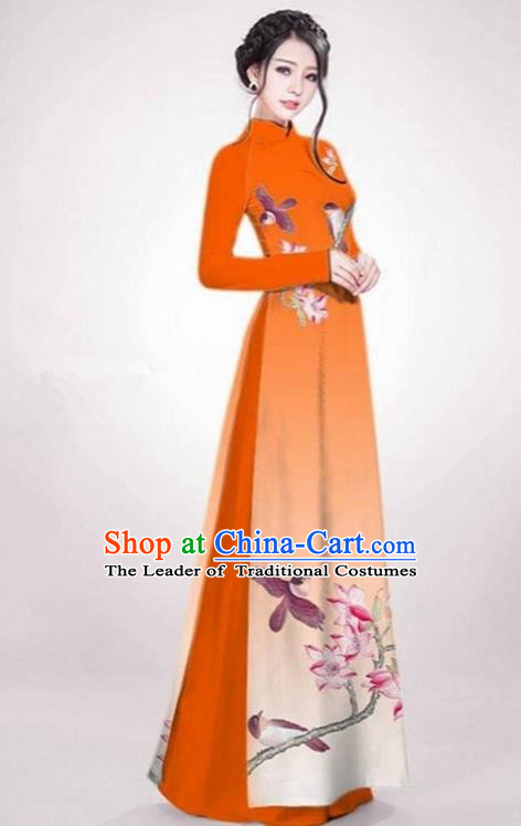 Top Grade Asian Vietnamese Traditional Dress, Vietnam Ao Dai Dress Orange Cheongsam Clothing for Women