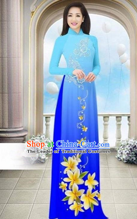 Top Grade Asian Vietnamese Traditional Dress, Vietnam Bride Ao Dai Dress Wedding Blue Printing Cheongsam Clothing for Women