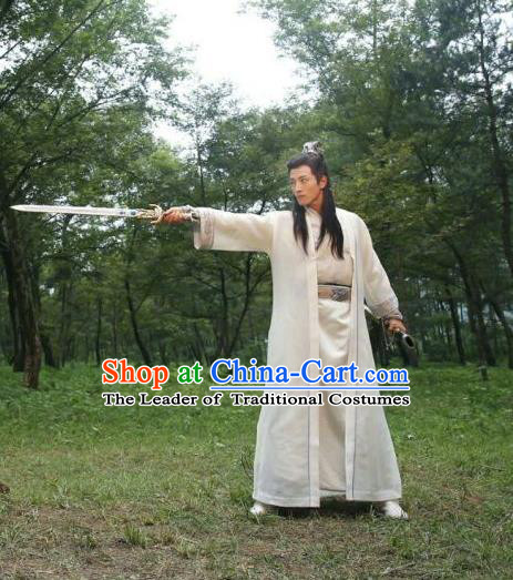 Traditional Chinese Ancient Swordsman Costume and Headpiece Complete Set, Fighter of the Destiny Tang Dynasty Nobility Childe Swordsman Clothing for Men