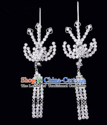 Chinese Ancient Peking Opera Hair Accessories Young Lady Headwear, Traditional Chinese Beijing Opera Head Ornaments Hua Tan White Crystal Phoenix Hairpins