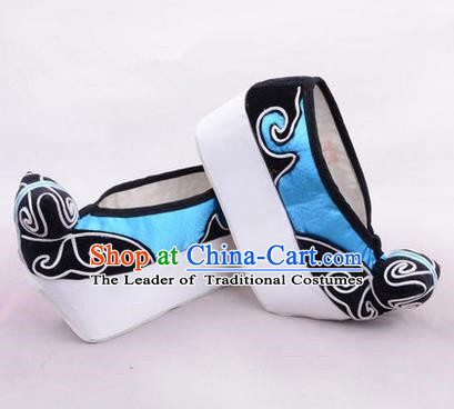 Chinese Ancient Peking Opera Young Men High Sole Shoes, Traditional China Beijing Opera Male Blue Embroidered Shoes