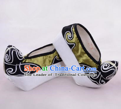 Chinese Ancient Peking Opera Young Men High Sole Shoes, Traditional China Beijing Opera Male Green Embroidered Shoes