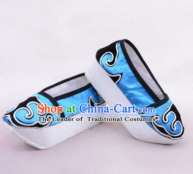 Chinese Ancient Peking Opera Huangmei Opera Young Men High Sole Shoes, Traditional China Beijing Opera Male Blue Embroidered Shoes