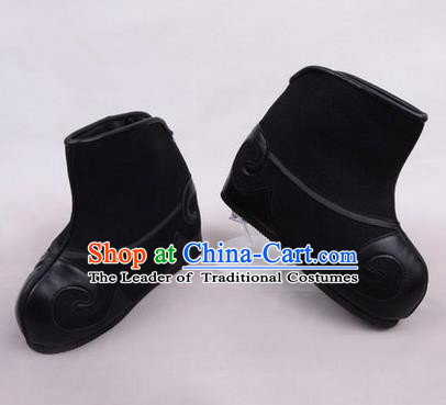 Chinese Ancient Peking Opera Huangmei Opera Martial Role Boots, Traditional China Beijing Opera Male Black Embroidered Shoes