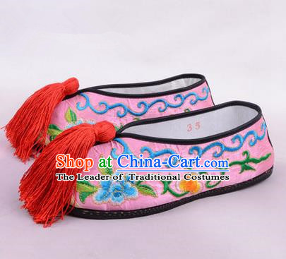 Chinese Ancient Peking Opera Young Lady Embroidered Hua Tan Shoes, Traditional China Beijing Opera Female Pink Embroidered Shoes