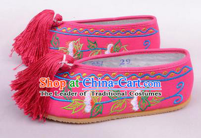 Chinese Ancient Peking Opera Young Lady Embroidered Hua Tan Shoes, Traditional China Beijing Princess Opera Rosy Embroidered Shoes