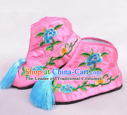 Chinese Ancient Peking Opera Martial Lady Embroidered Boots, Traditional China Beijing Princess Opera Pink Embroidered Shoes