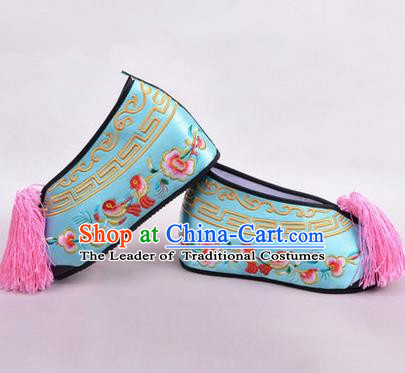 Chinese Ancient Peking Opera Young Lady Embroidered Wedding Shoes, Traditional China Beijing Opera Female Hua Tan Light Blue Embroidered Shoes
