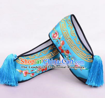 Chinese Ancient Peking Opera Young Lady Embroidered Wedding Shoes, Traditional China Beijing Opera Female Hua Tan Blue Embroidered Shoes