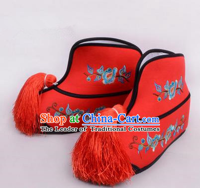 Chinese Ancient Peking Opera Blues Martial Lady Embroidered Boots, Traditional China Beijing Princess Opera Red Embroidered Shoes