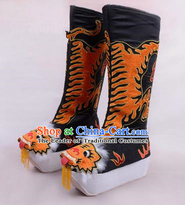 Chinese Ancient Peking Opera King Embroidered High Leg Boots, Traditional China Beijing Emperor Opera Black Embroidered Steller Shoes