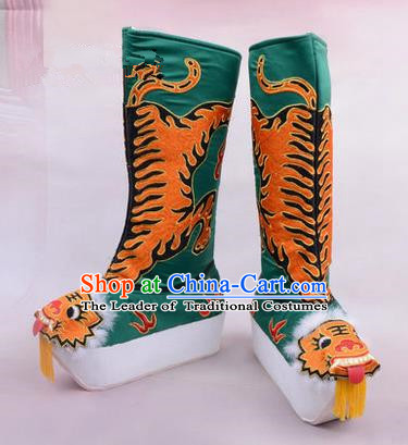 Chinese Ancient Peking Opera King Embroidered High Leg Boots, Traditional China Beijing Emperor Opera Green Embroidered Steller Shoes