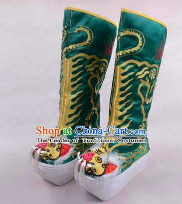 Chinese Ancient Peking Opera King Embroidered High Leg Boots, Traditional China Beijing Opera Emperor Green Embroidered Tiger-head High Sole Shoes