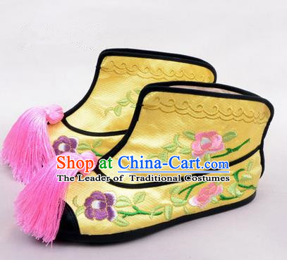 Chinese Ancient Peking Opera Martial Lady Embroidered Peony Boots, Traditional China Beijing Opera Princess Female Yellow Embroidered Shoes