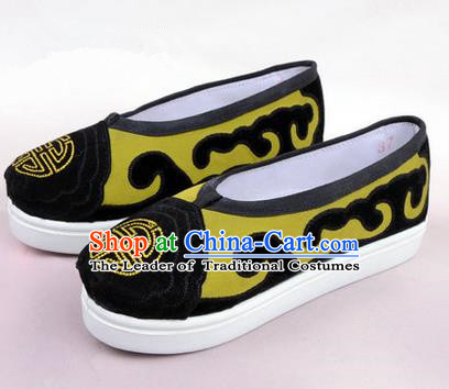 Chinese Ancient Peking Opera Huangmei Opera Old Men Shoes, Traditional China Beijing Opera Male Yellow Embroidered Shoes