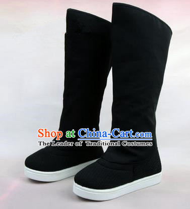 Chinese Ancient Peking Opera Officer Embroidered Court High Leg Boots, Traditional China Beijing Opera Black Cloth Shoes