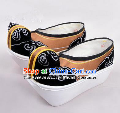 Chinese Ancient Peking Opera Scholar Young Men High Sole Shoes, Traditional China Beijing Opera Male Bronze Embroidered Shoes