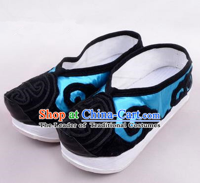 Chinese Ancient Peking Opera Huangmei Opera Old Men High Sole Shoes, Traditional China Beijing Opera Male Milord Blue Embroidered Shoes