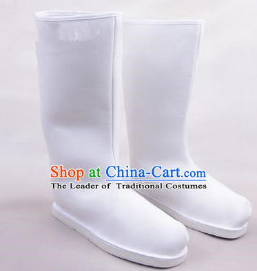 Chinese Ancient Peking Opera Officer Embroidered Court High Leg Boots, Traditional China Beijing Opera White Cloth Shoes