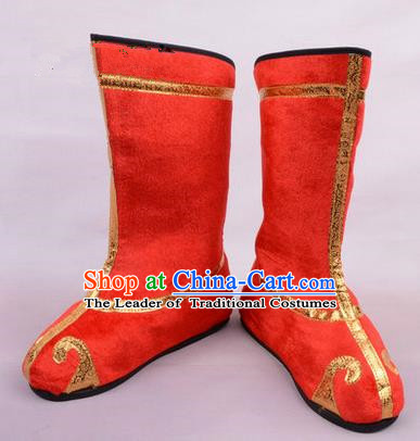Chinese Ancient Peking Opera Martial Lady Swordplay Embroidered Boots, Traditional China Beijing Opera Dragon Dance Red Embroidered Shoes