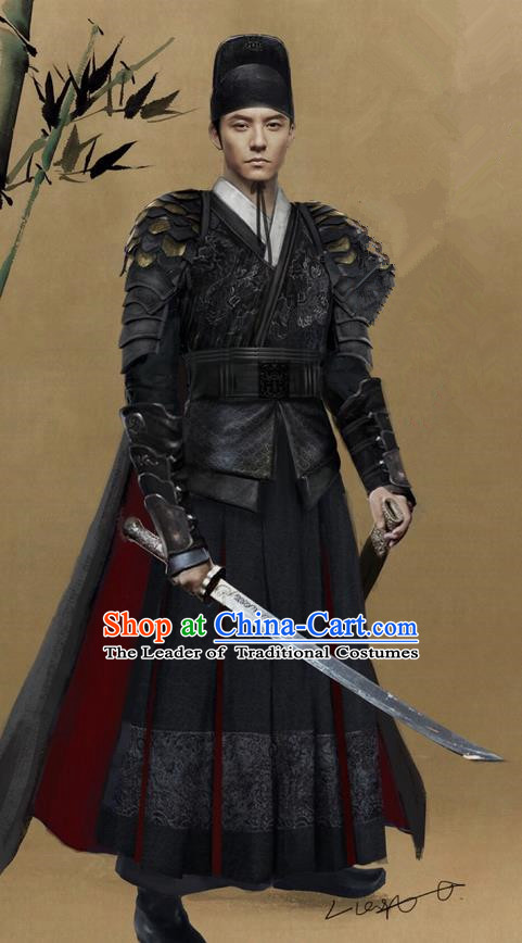 Traditional Ancient Chinese Imperial Guards Costume, Films Brotherhood of Blades Chinese Ming Dynasty Blades Swordsman Clothing and Handmade Headpiece Complete Set