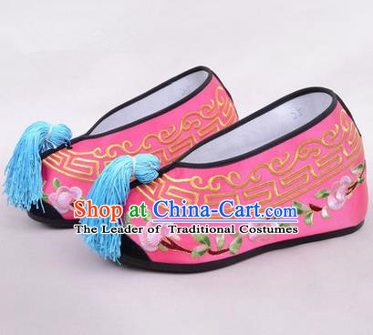 Chinese Ancient Peking Opera Young Lady Embroidered Hua Tan Shoes, Traditional China Beijing Opera Princess Wedding Rosy Embroidered Shoes