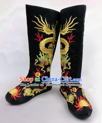 Chinese Ancient Peking Opera King Embroidered Dragon High Leg Boots, Traditional China Beijing Opera Emperor Black Embroidered Steller Shoes