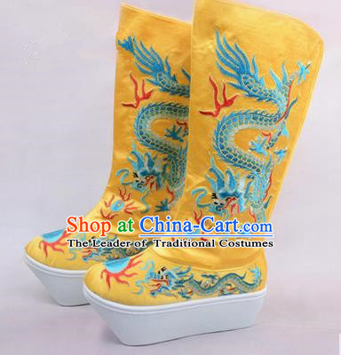 Chinese Ancient Peking Opera King Embroidered Dragon High Leg Boots, Traditional China Beijing Opera Emperor Yellow Embroidered High Sole Shoes