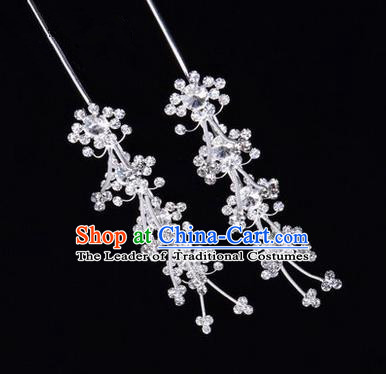 Chinese Ancient Peking Opera Hair Accessories Young Lady Diva Head Ornaments, Traditional Chinese Beijing Opera Hua Tan White Crystal Hairpins