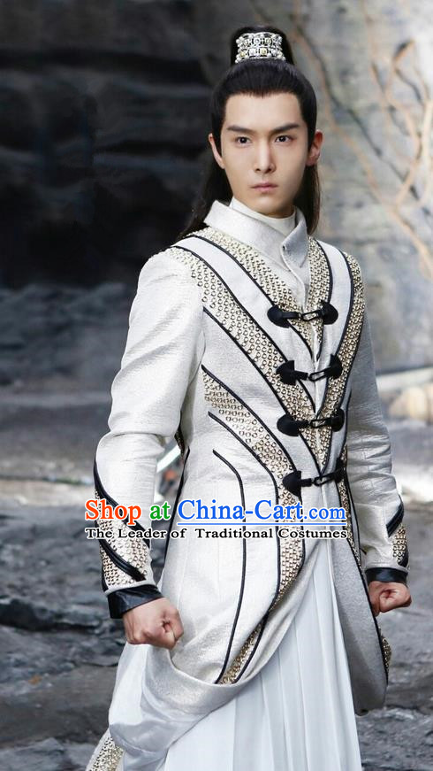 Traditional Ancient Chinese Nobility Childe Costume, A Life Time Love Chinese Prince Clothing and Handmade Headpiece Complete Set