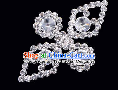 Chinese Ancient Peking Opera Jewelry Accessories Young Lady Diva Bowknot Brooch, Traditional Chinese Beijing Opera Hua Tan White Crystal Breastpin