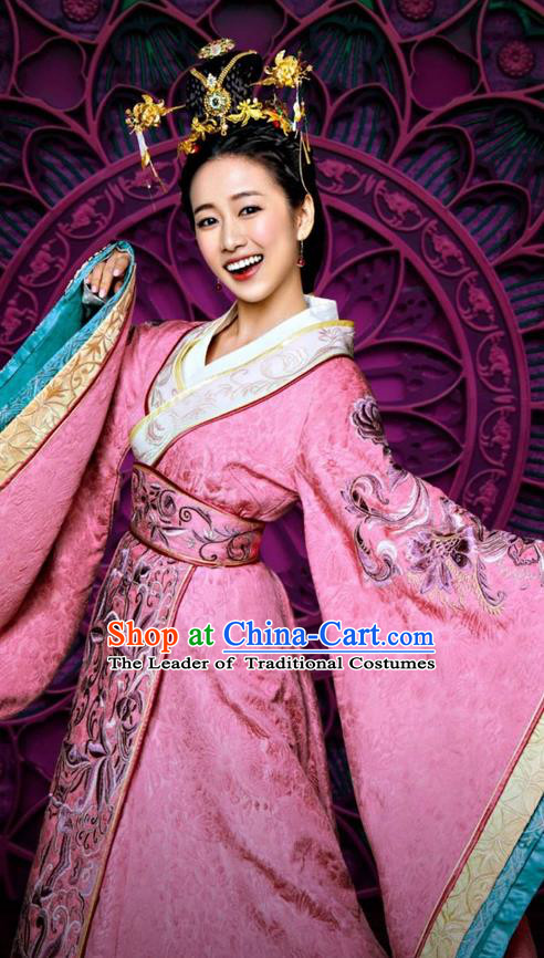 Traditional Ancient Chinese Young Lady Costume and Handmade Headpiece Complete Set, Elegant Hanfu Clothing Chinese Southern and Northern Dynasty Imperial Princess Embroidered Clothing